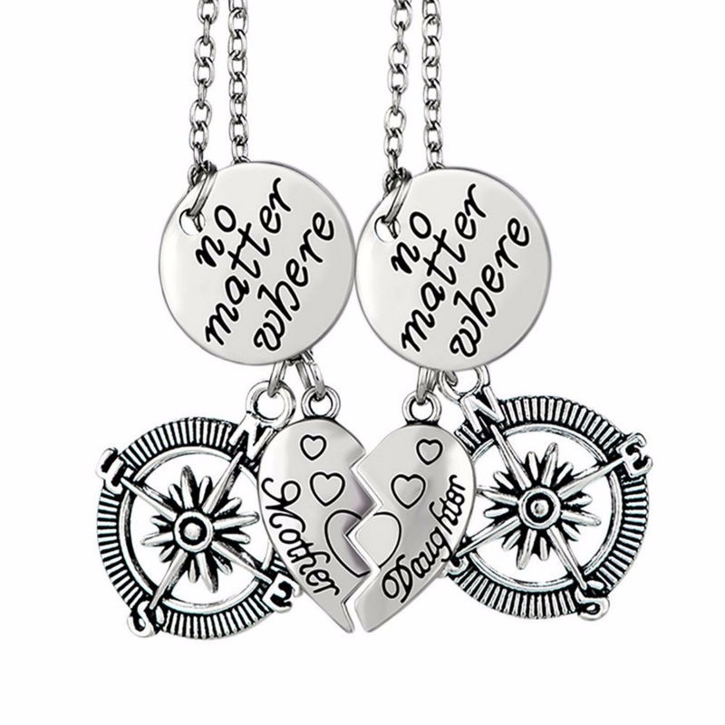 f9b1a4b22 Vintage Mother Daughter No Matter Where Compass Couple Pendants Necklaces 2  Pieces Broken Heart Letter Collier Chain Jewelry