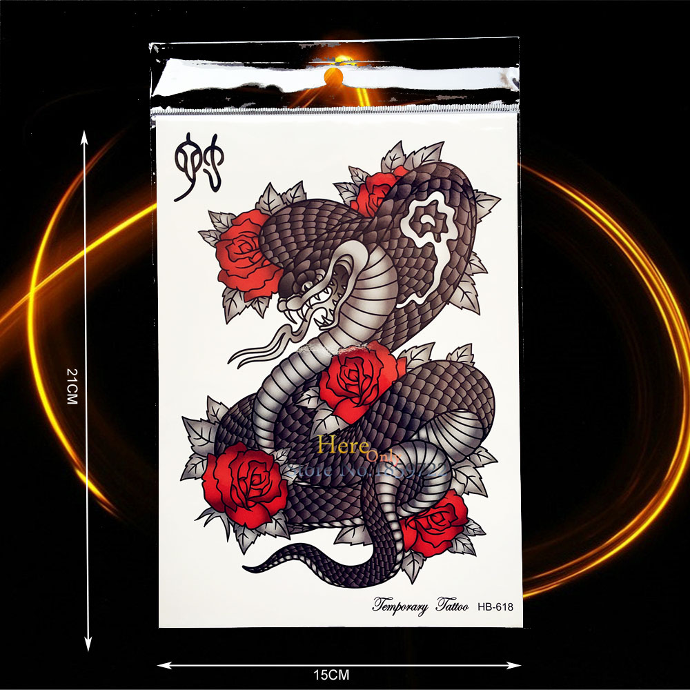 Glorious Black Snake Tempoary Tattoo Sticker Waterproof Rose Flower Arm Tatoo Paste For Men Women Body Art Fake Tattoo Stickers Hhb618 Temporary Tattoos