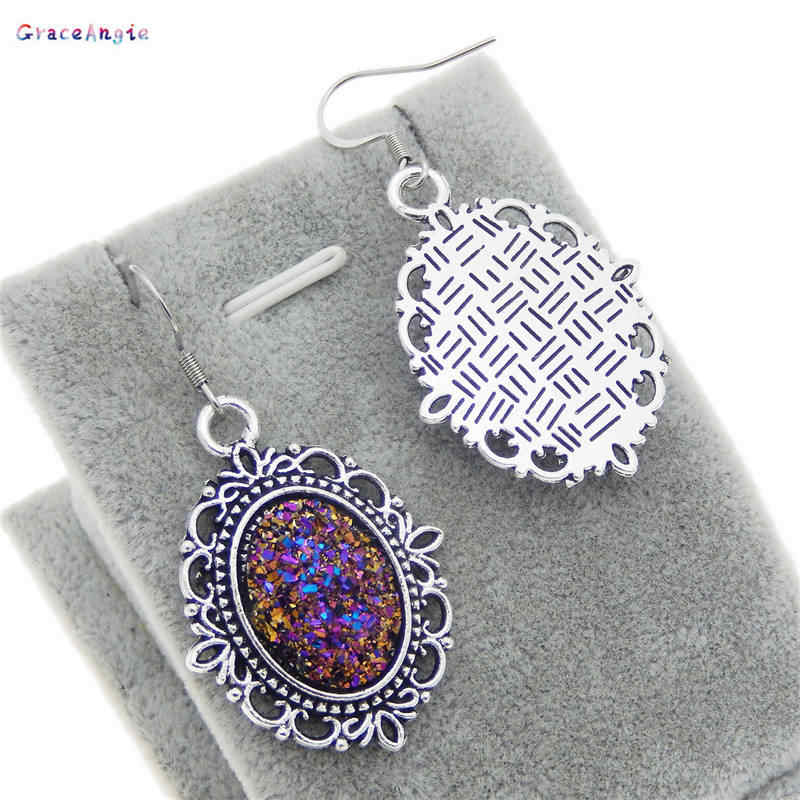 GraceAngie שרף עתיק כסף פו Druzy עגילי שרשרת אבץ סגסוגת סגול אופנה Eardrop נשים תכשיטי סטי מתנות