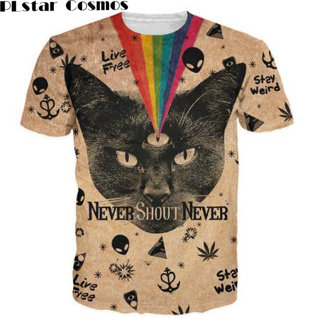 ad66b9291 PLstar Cosmos Black Cat T-Shirt Never Shout Never Tops Weed Leaf Alien  Kitten rainbow 3d t shirt Women Men Summer Style tees
