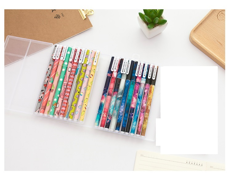 Image 2 - 50 pcs/Lot Star pens set Cute forest animal 0.5mm roller ball black ink color pens stationery Office tools School supplies A6366-in Ballpoint Pens from Office & School Supplies