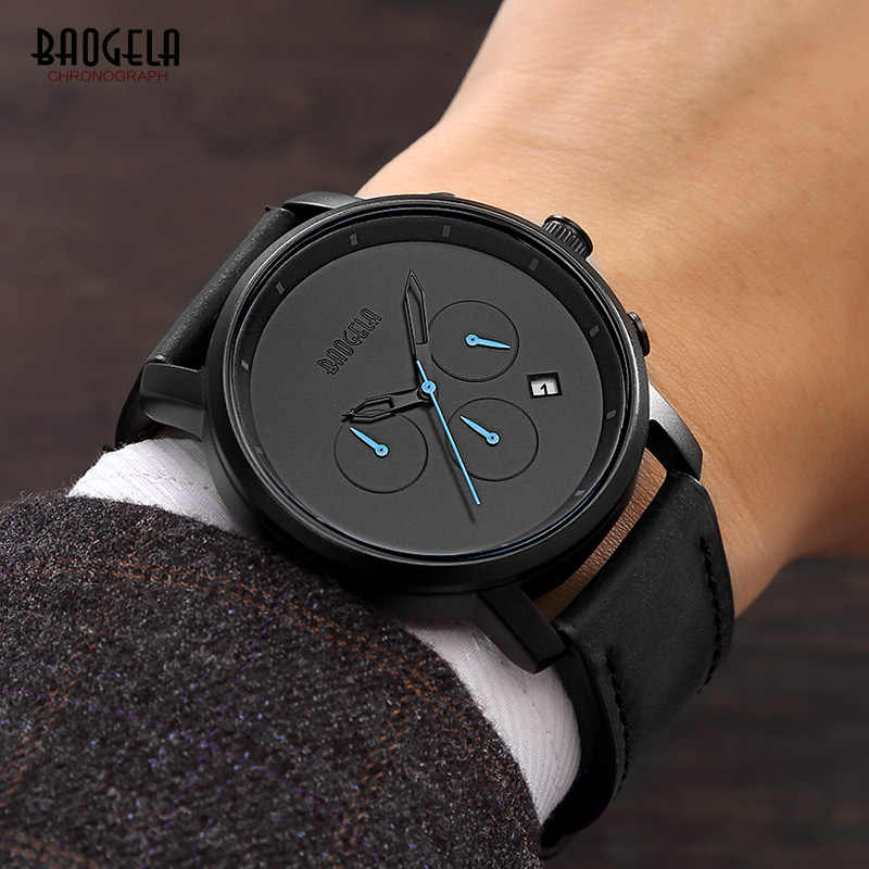 BAOGELA Men's Minimalism Simple Quartz Wrist Watches Chronograph Leather Stop Watch 24 Hours Clock Relogios Masculino 1705Black