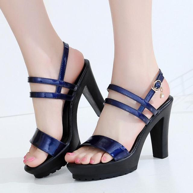D & Henlu Büyük Boy Ayakkabı Kadın Sandalet 2018 Gladyatör Yüksek Topuklu Sandalet Kadın Ayakkabı Boyutu 11 Deri sandalias rasteiras femininas