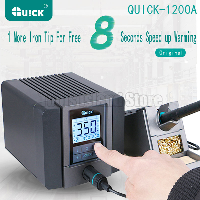 QUICK TS1200A Best Quality lead-free soldering station electric iron 120W anti-static soldering 8 second fast heating Welding