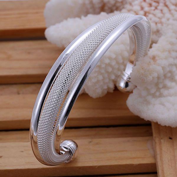 B019  Hot sale free shipping silver fine jewelry,Wholesale 925-Sterling-Silver charms fashion Weaved Silvery Bangles /amqajdxa