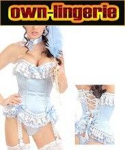 Stain garter corsets women corset,light blue stain burlesque corset for women,free shipping