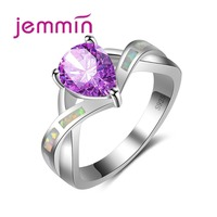 Jemmin Stylish Cross Rainbow Opal Ring 925 Sterling Silver Bijoux with Big Purple Crystal for Women Gift Classic Water Drop Type
