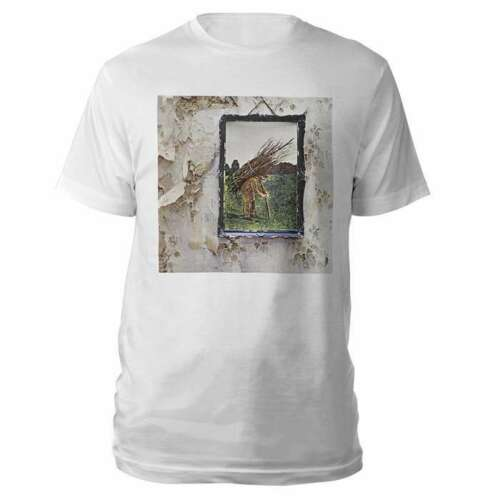 Led Zeppelin IV ALBUM - MAN WITH STICKS T-Shirt White NWT Licensed & Official image