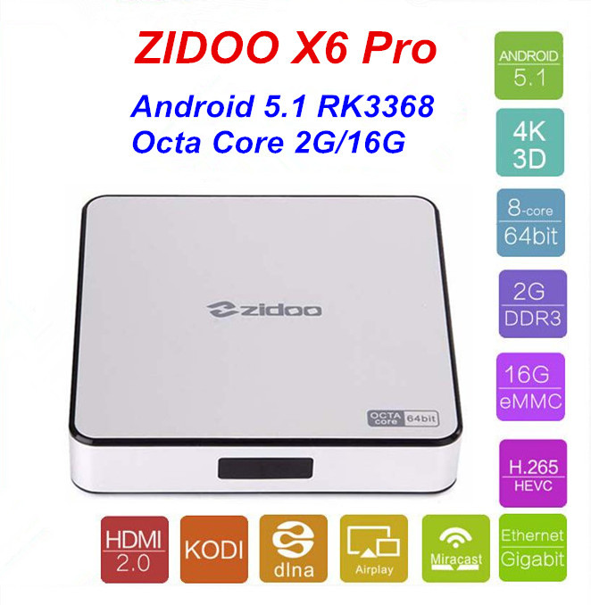 2pcs Zidoo X6 pro HD 4K*2K H.265 Smart Android TV Box RK3368 Bluetooth XBMC (KODI) 2G/16G 3D Octa Core 1000M LAN Dual WIFI