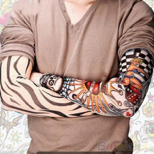 6 Pcs/lot Men Sleeves Fashion Temporary Fake Slip On Fake Tattoo Arm Sleeves Kit   Sleeves 0JAS