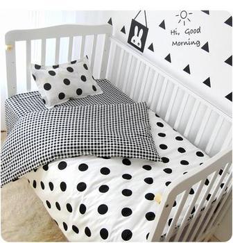 Good Quality Baby Bedding Set Cartoon Pattern Crib Kits Bed Room 100% Cotton Black Dots ,Duvet/Sheet/Pillow, with filling