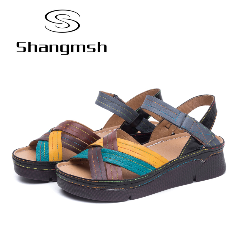 Shangmsh 2018 summer gladiator heels sandals comfortable genuine leather candy color Pump women shoes Casual platform candy color genuine leather vintage style women casual sandals 2017 designer open toe platform wedge handmade summer shoes