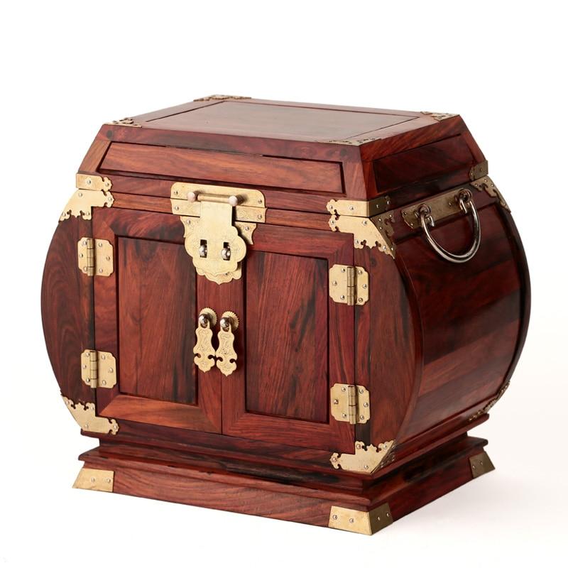 Palissandre bois de rose boîte à bijoux en bois boîte à bijoux bois mariage surdimensionné plaine poitrine miroir serrure
