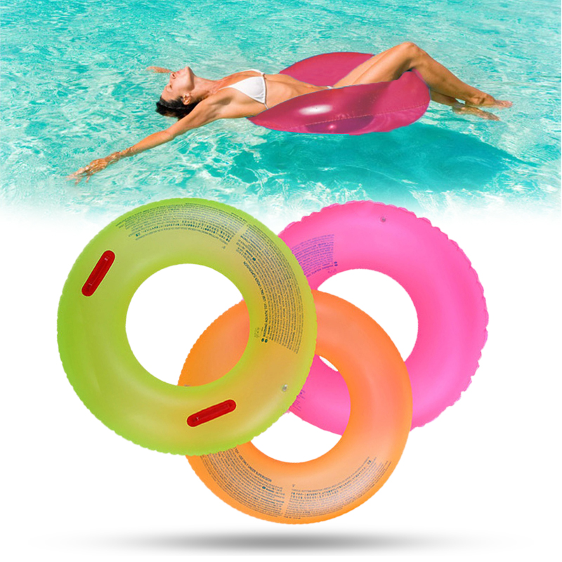 60*21cm New PVC Durable Adult Children Summer Inflatable Pool Toys Color Random Swim Ring Swimming Boardwalk Circle Floats