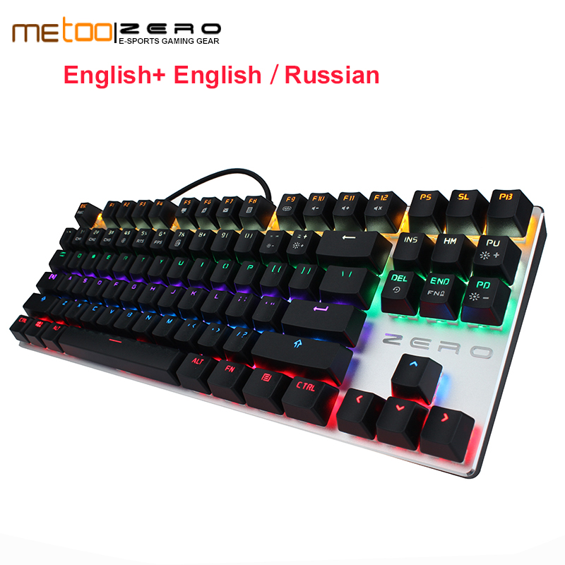 Free Shipping Original Metoo ZERO Wired Mechanical Keyboard with LED Backlit Wireless Gaming 87/104 Keys For Gamer