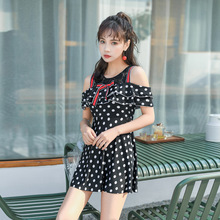 Female 2019 One-piece Thin Sexy Dot Print Swimsuit Short Sleeve Hot Spring Bathing Suit