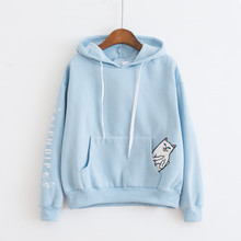 Women Ripndip Pockets Cat Pullover Hoodies Autumn Winter Fleece Thicken Harajuku Spoof Cat Cute Hit Color Casual Hoody Outwear