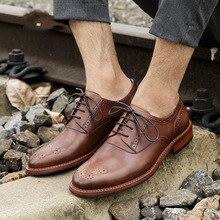 QYFCIOUFU Vintage Round Toe Men's Oxford Shoe Genuine Cow Leather Lace Up Formal Shoes High Quality Fashion Mens Dress Shoes
