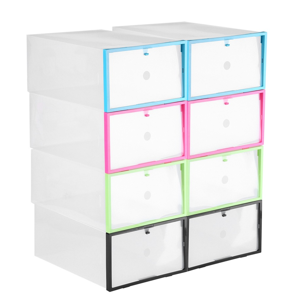 Clear Foldable Plastic Drawer Shoe Storage Case Stackable Box Organizer aufbewahrung komody organizadores de cajones ...