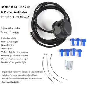 Image 4 - AOHEWEI prewired 13 pin core way towing  trailer socket  harness with 2 meter 8 pin cable wire 13 pin trailer adapter connector