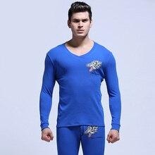 Mens V-neck Thermal Underwear Sets Wolf Cartoon Printed Male Long Johns sets Man Top & Bottom Sleepwear 6 Colors