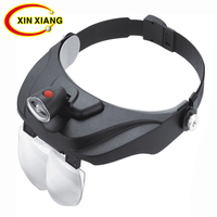Headband Old Person Reading Magnifier With LED Light 5 Optical Lens Magnifying Glass Repair Watchmaker Magnifier Jewelry Loupe