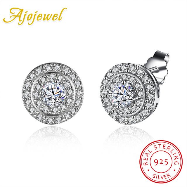 Ajojewel clássico rodada 925 esterlina brincos de prata para as mulheres cz diamante brincos de jóias de casamento