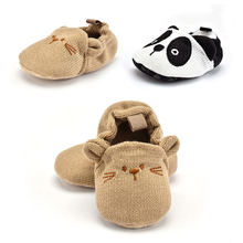 1 Pair Unisex 0-18M Infant Baby Knit Shoes Newborn Boys Girls Cute Cartoon Dog Panda Soft Soled Non-slip Toddler Shoes Play Mats(China)