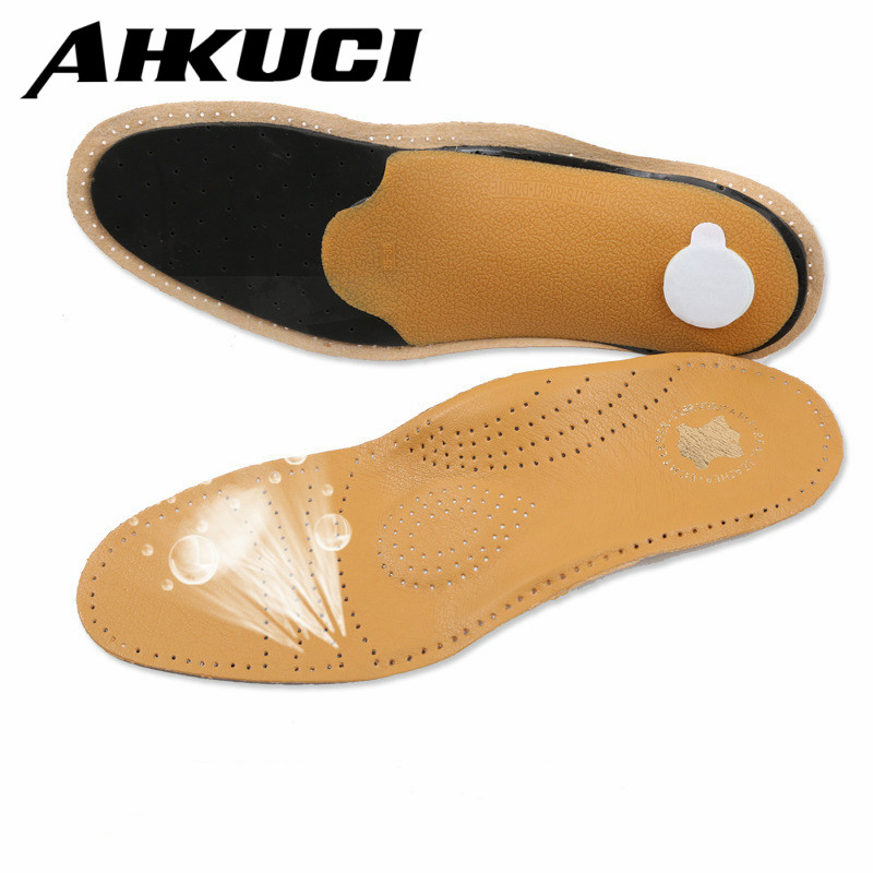 New Leather Arch Support Air Damping Anti Flatfoot Correction Bow Insole Relieve Flatfoot Arch Insole for Men and Women