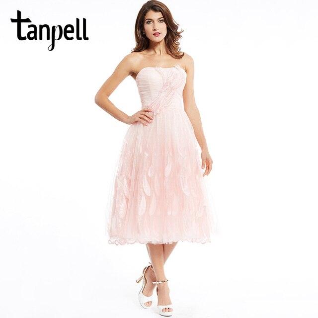 Tanpell trägerlosen cocktailkleid perle rosa tee länge bördelte eine ...