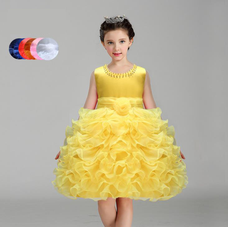 Flower Girl Dress Princess Tutu Dresses for Wedding Girls Clothes Party Kids Wear Ceremonies Baby Birthday Baptism Cake Dress