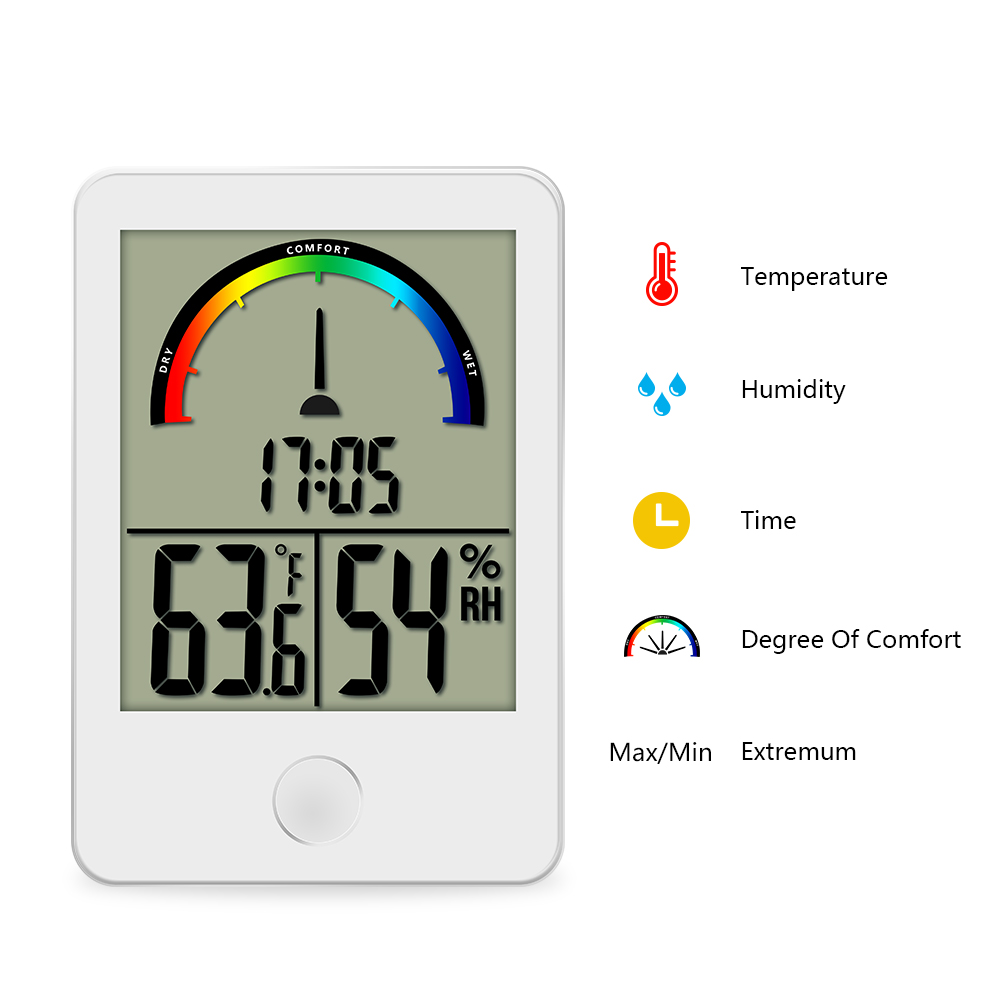 Digital display Comfort Level Weather Station Clock indoor thermometer Humidity measurement Portable Temperature Meter digital thermometer hygrometer temperature humidity meter alarm clock max min value comfort level display