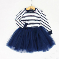 Striped Mesh Dress for Girls Spring Fall New Sweet Simple Mesh Princess Dress Casual Ball Gown Girl Clothing Fashion