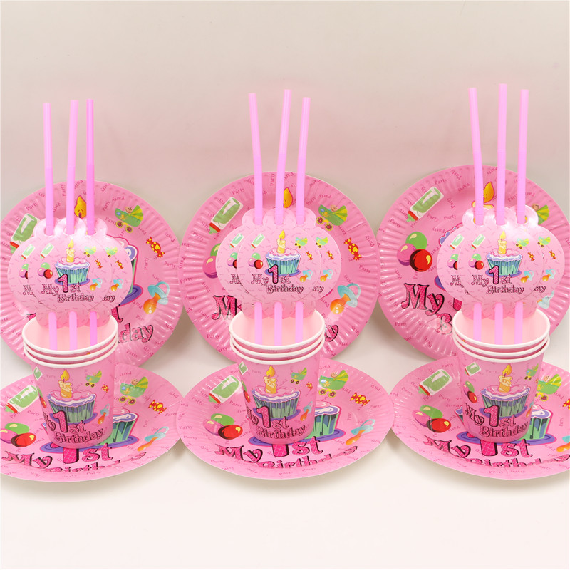 8 people 1st birthday girls party simple set decoration paper plate cups straw baby 1 year old partyu0027s disposable supplies 24pcs-in Disposable Party ... & 8 people 1st birthday girls party simple set decoration paper plate ...
