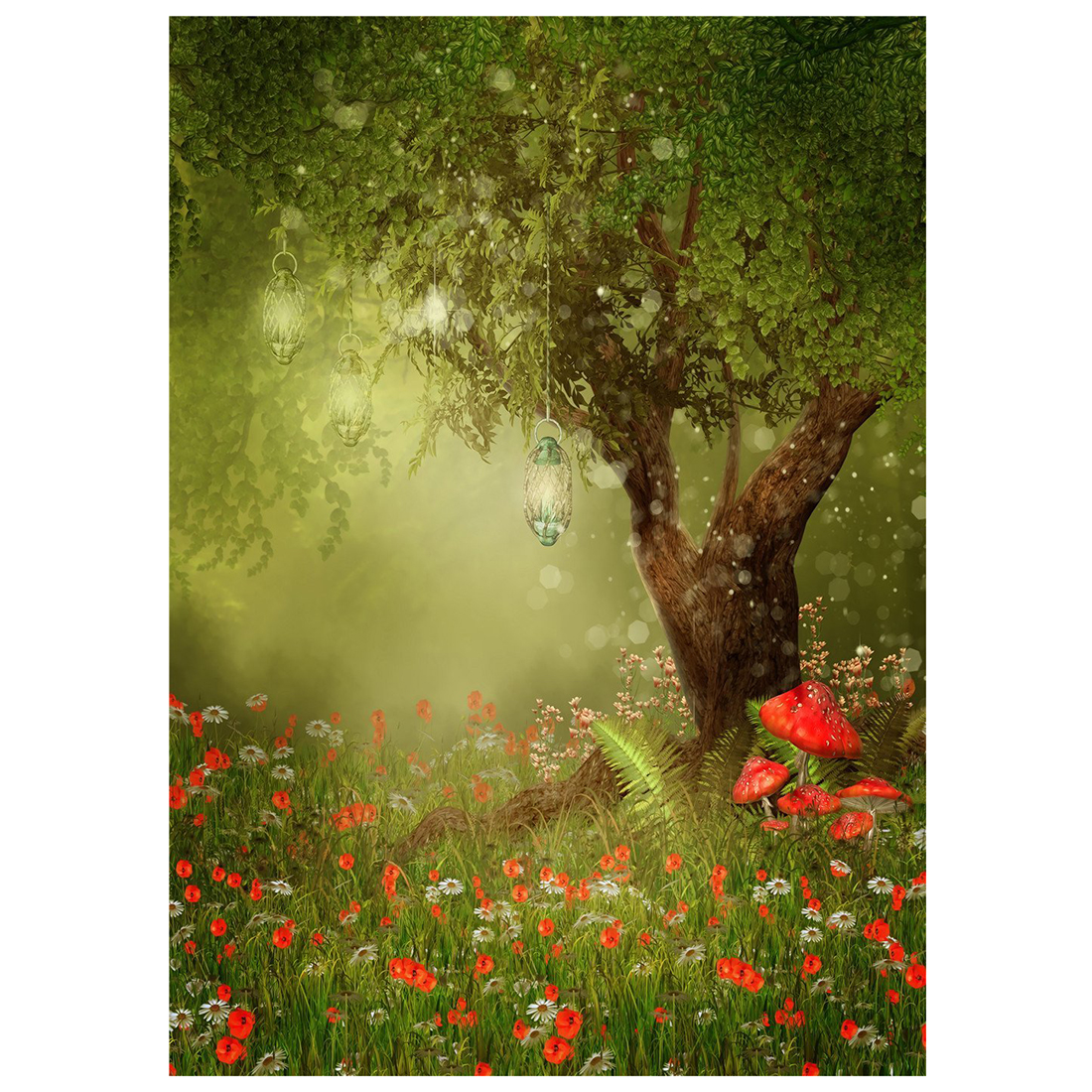 3x5ft Spring Photography Props Red Mushroom Flowers Photo Studio Backgrounds Green Natural Scenery Tree Backdrops цена
