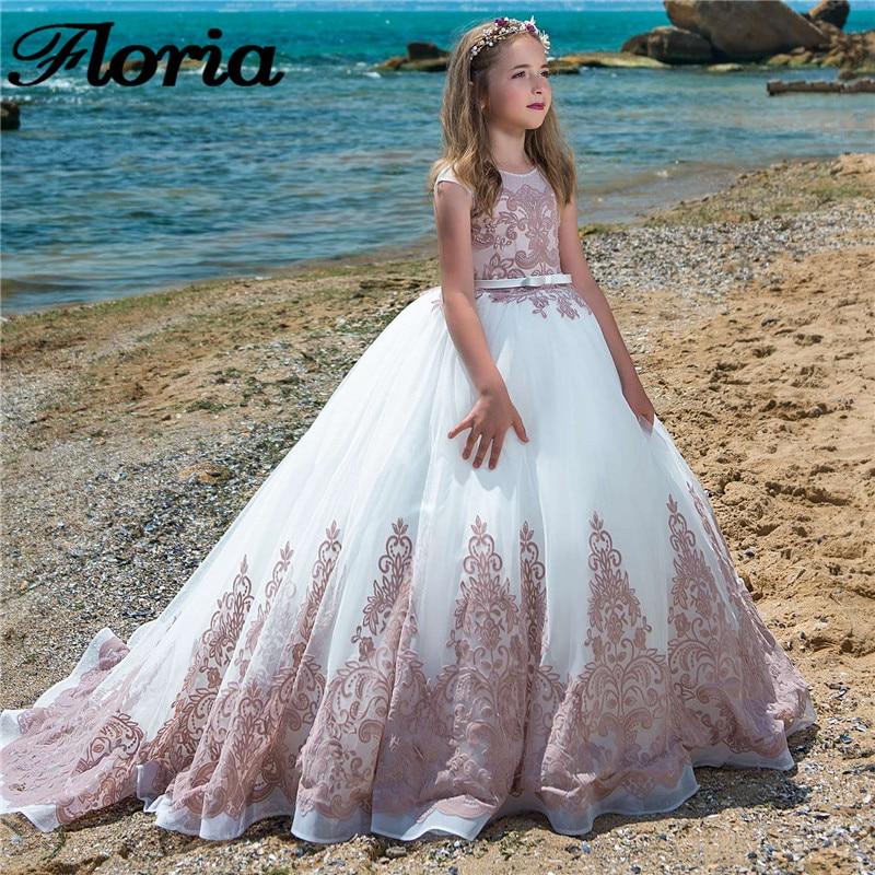 Flower     Girl     Dresses   For Kids First Communion   Dresses   For   Girls   2018 New Long Beading   Flower   Wedding For   Girls   vestido daminha