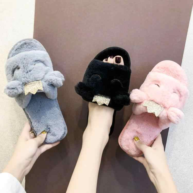 Cute Hairy Pink Blue Black Beige Fur Slippers Women Sheep Shape Buckle Girl Slides Indoor Casual Shoes Slip On Womens Flats New