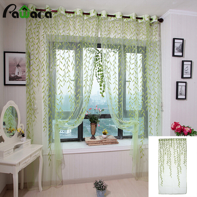 Voile Tulle Sheer Curtains For Bedroom Green / Purple / Pink Window Curtains  For Living Room