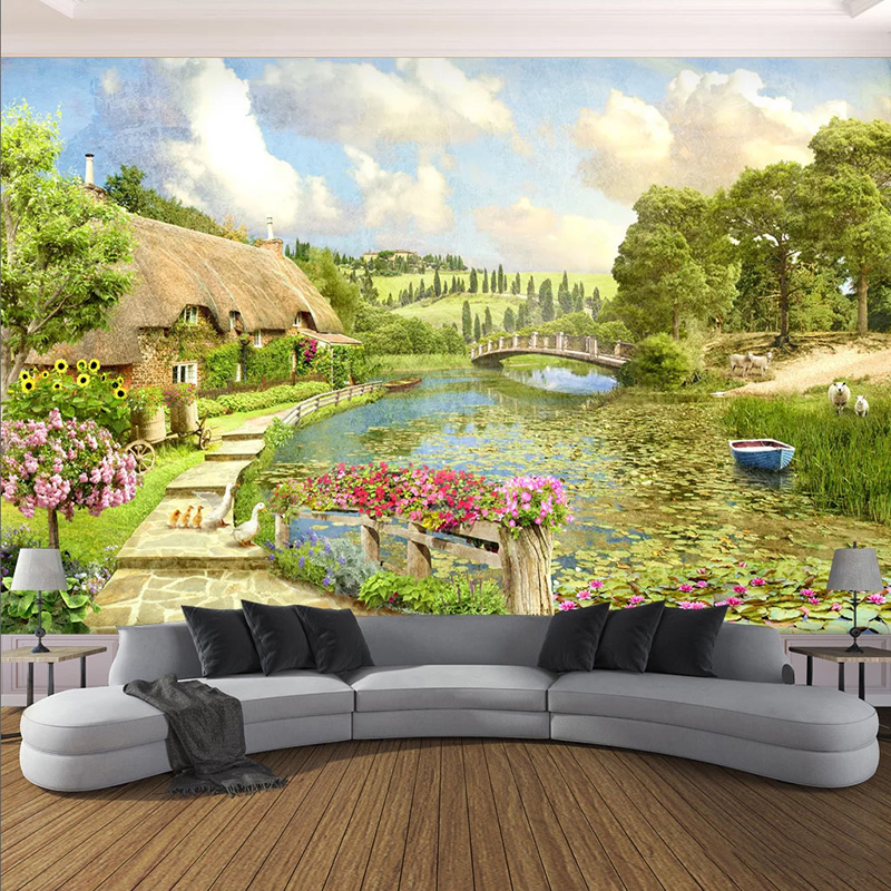 Photo Wallpaper 3D Pastoral Landscape Murals Living Room Bedroom Home Decor European Style Wall Papers For Walls 3 D Papel Mural
