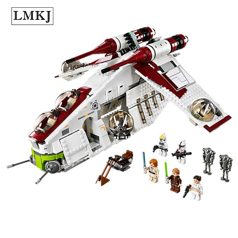 Wars Star 1175Pcs Serie Wars Genuine The Republic Gunship Educational Building Blocks Brick Toy Compatible with Legoingly 75021 new 5041 star wars series the the republic gunship building blocks bricks toys compatible with legoingly children model starwars