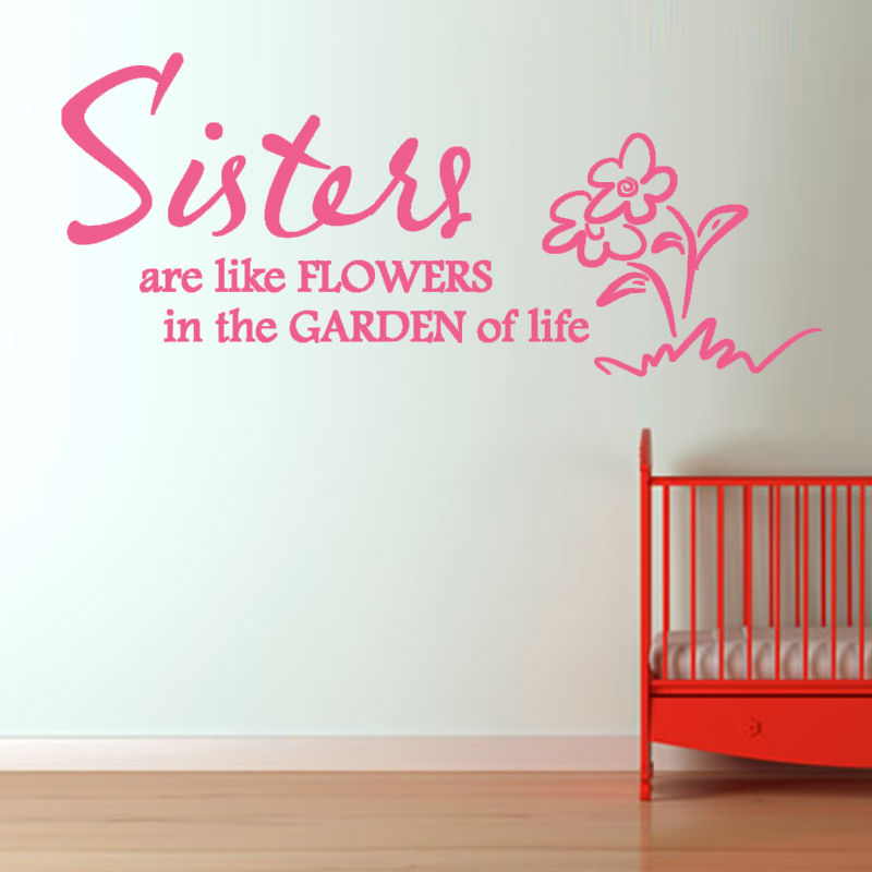 DCTOP Sister Are Like Flowers Wall Sticker Removable DIY Home Decor  Character Vinyl Art Wall Mural