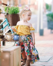 OKLADY 2019 Summer Kid Girls Dress Clothes Set Yellow Shoulderless Lace Floral Skirt Fashion Kids Clothing Girls Fall Outfits цена и фото