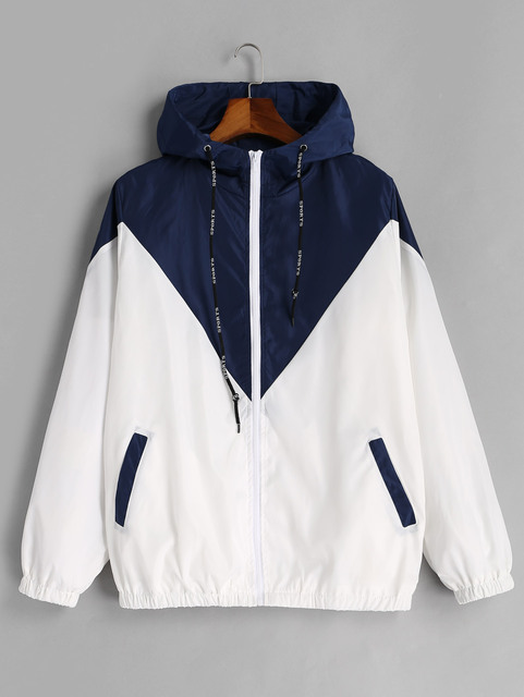 Two Tone Windbreaker Jacket Zipper Pockets Casual Long Sleeves 5