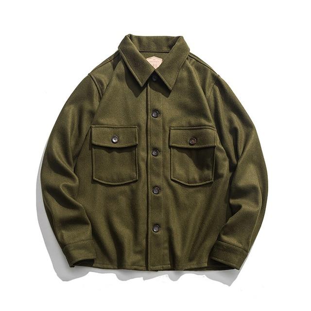 dcd665aebff Vintage 70s Woolen CPO Shirt Jacket US Navy Men s Military Coat Olive Green  44