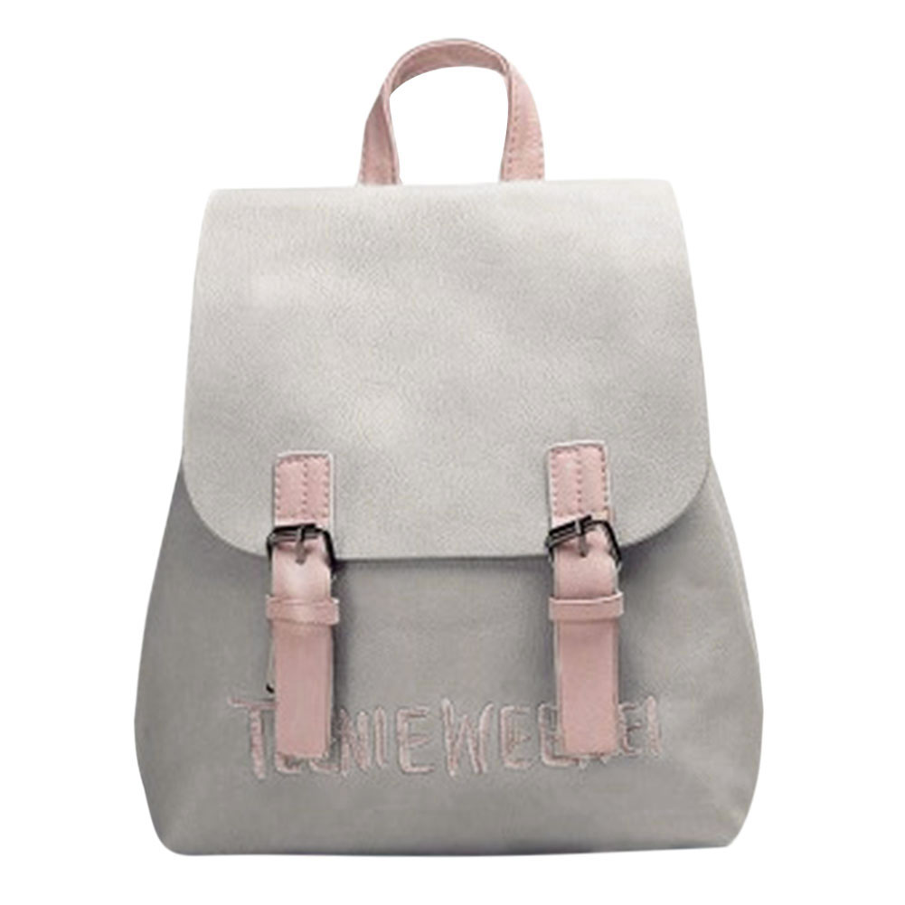 New Pu Leather Women Backpack Letter Embroidery Backpacks Preppy Rucksack  Chic Girls School Bags For Teenage