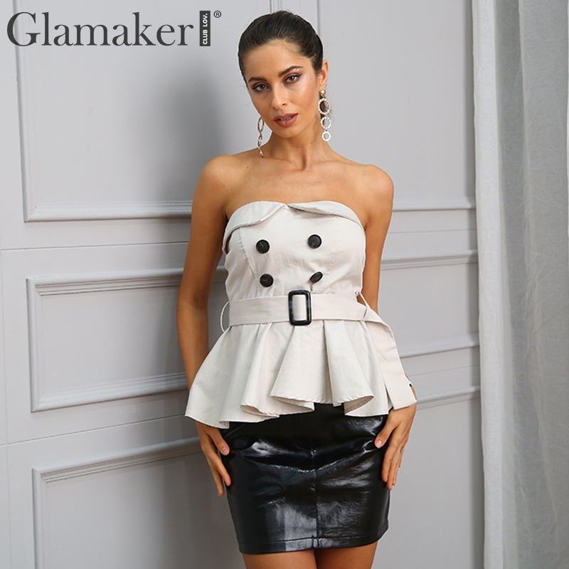 Glamaker Sexy strapless   blouse     shirt   Women   shirts   belt tube top tees Casual ruffle backless summer   blouse     shirt   female tops