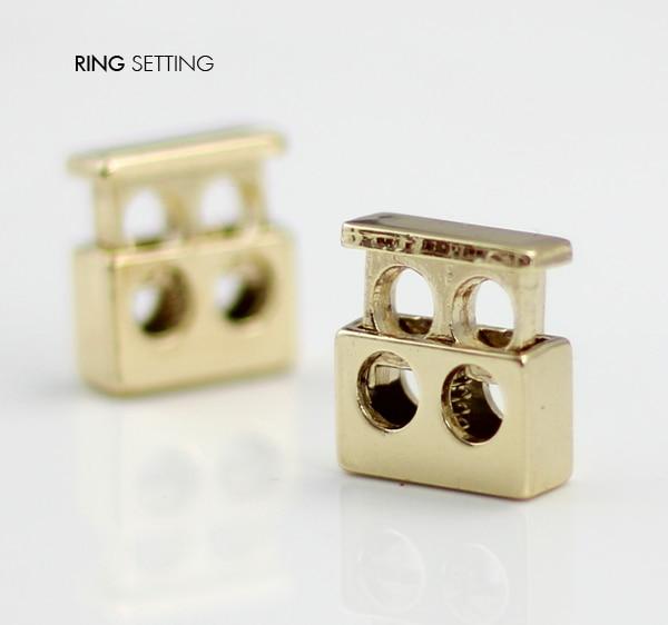 10pcs Pack Cord  Lock Toggle Stopper lock Bean Gold  Tone  Toggle  Clip NK151