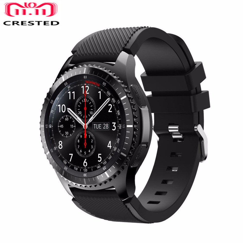 CRESTED Silicone Strap For Samsung Gear S3 Frontier/Classic Band 22mm 46mm replacement wrist band Bracelet Sport smart watchband so buy silicone watchband for samsung gear s3 classic frontier 22mm silica gel watch band s 3 sport strap replacement bracelet