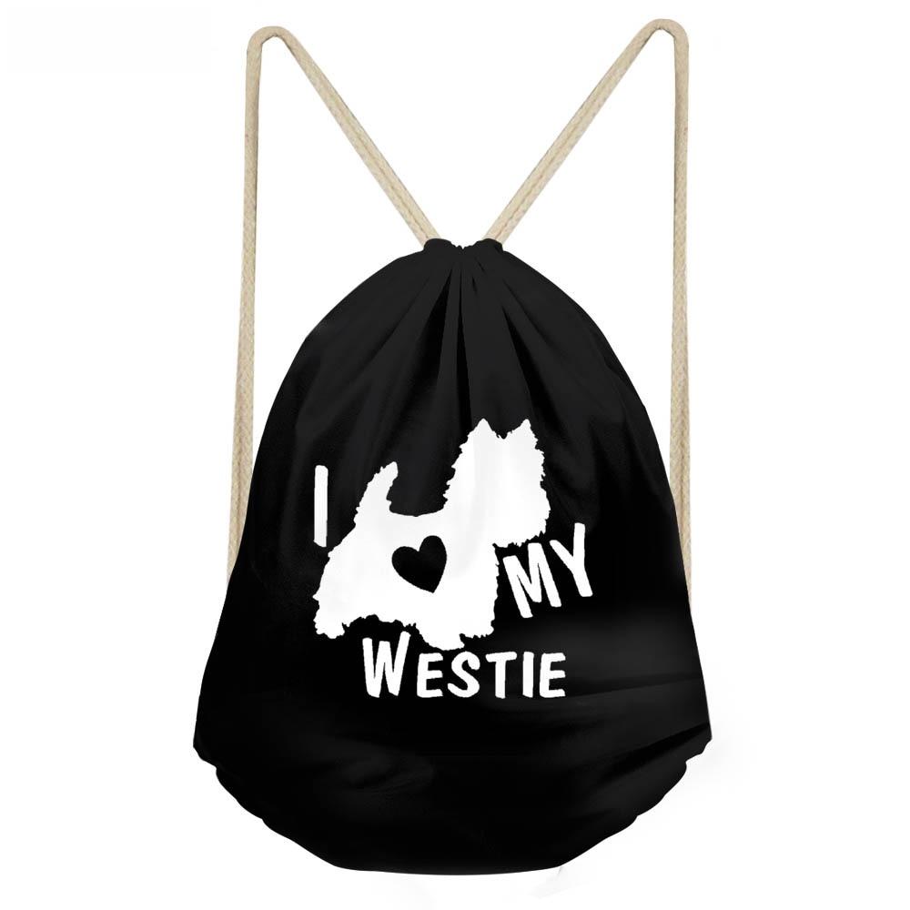 ThiKin Funny I Love My West Highland White Terrier Dog Print Girls Boys Drawstring Black Westie