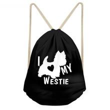 ThiKin Funny I Love My West Highland White Terrier Dog Print Girls Boys Drawstring Black Westie Backpacks Children Sack Bag